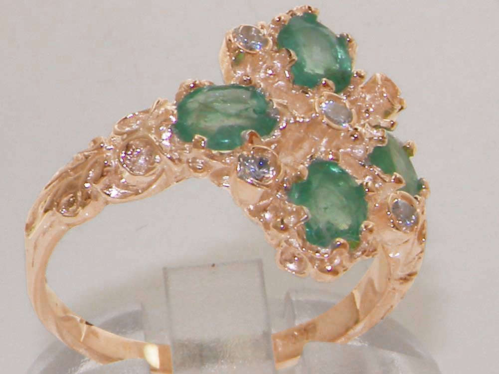Details about solid 9ct rose gold natural emerald amp diamond vintage