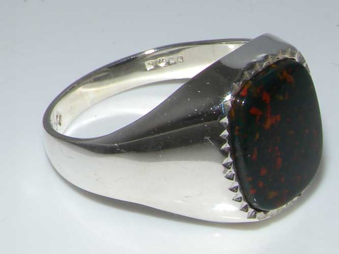 Luxury Sterling Silver Mens Cushion Cut Bloodstone Signet