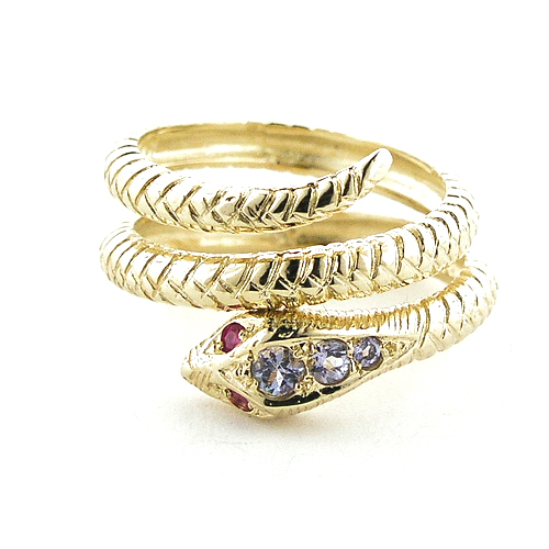 The Great British Jeweler Fabulous Solid 14K Yellow Gold Natural Tanzanite & Ruby Detailed Snake Ring - Finger Sizes 5 ...