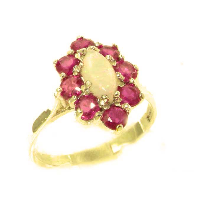 The Great British Jeweler Luxury Ladies Solid British Yellow 9K Gold Natural Opal & Ruby Cluster Ring - Finger Sizes ...