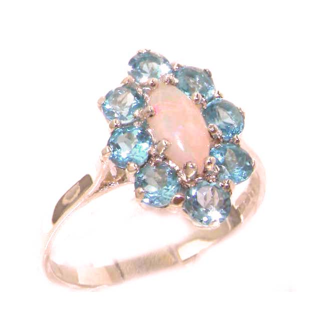 The Great British Jeweler Luxury Ladies Solid British Rose 9K Gold Natural Opal & Blue Topaz Cluster Ring - Finger ...
