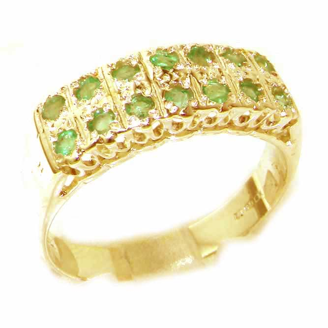 The Great British Jeweler Solid English Yellow 9K Gold Natural Emerald Victorian Style Wide Eternity Band Ring - Finger Sizes 5 to 12 Available ...