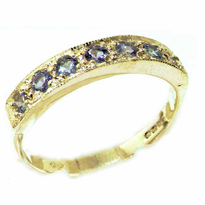 The Great British Jeweler Solid English Yellow 9K Gold Ladies Natural Tanzanite Eternity Band Ring - Finger Sizes 5 to ...