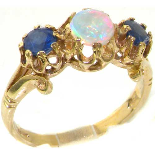The Great British Jeweler Luxury Solid Yellow 9K Gold Natural Opal & Sapphire Trilogy Eternity Ring - Finger Sizes 4 ...