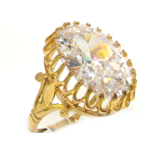 The Great British Jeweler 9K Yellow Gold Womens Vintage Style Large CZ Cubic Zirconia Ring - Finger Sizes 5 to ...