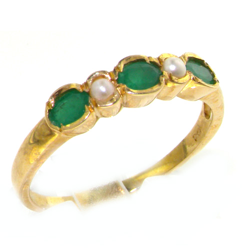 The Great British Jeweler 18K Yellow Gold Womens Emerald & Pearl Anniversary Eternity Band Ring - Finger Sizes 5 to 12 Available