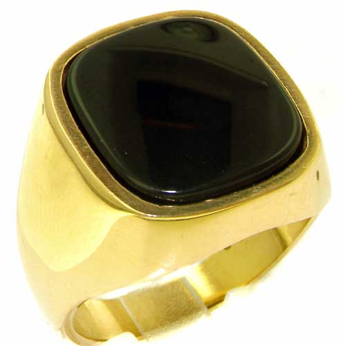 The Great British Jeweler Luxury 9K Yellow Gold Mens Large Cushion Cut Onyx Signet Ring - Finger Sizes 8 to 12 Available at Sears.com