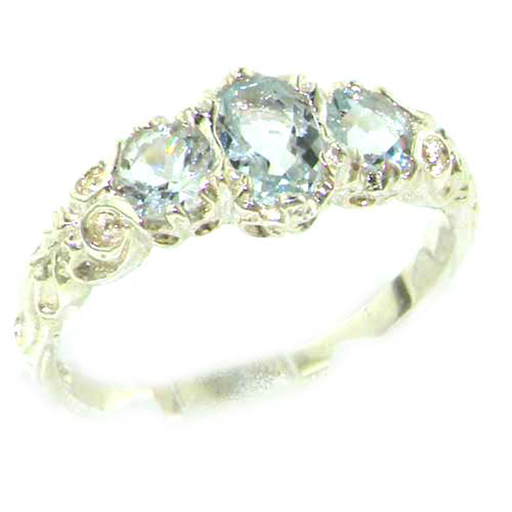 The Great British Jeweler Ladies Solid White 9K Gold Natural Aquamarine English Victorian Trilogy Ring - Finger Sizes 5 to 12 Available at Sears.com