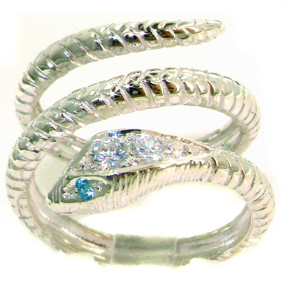 The Great British Jeweler Solid 9K White Gold Blue Topaz & Diamond Snake Band Wrap Ring - Finger Sizes 4 ...