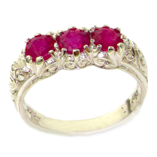 The Great British Jeweler Luxury Solid Sterling Silver Natural Ruby Art Nouveau Carved Trilogy Ring - Finger Sizes 5 to ...