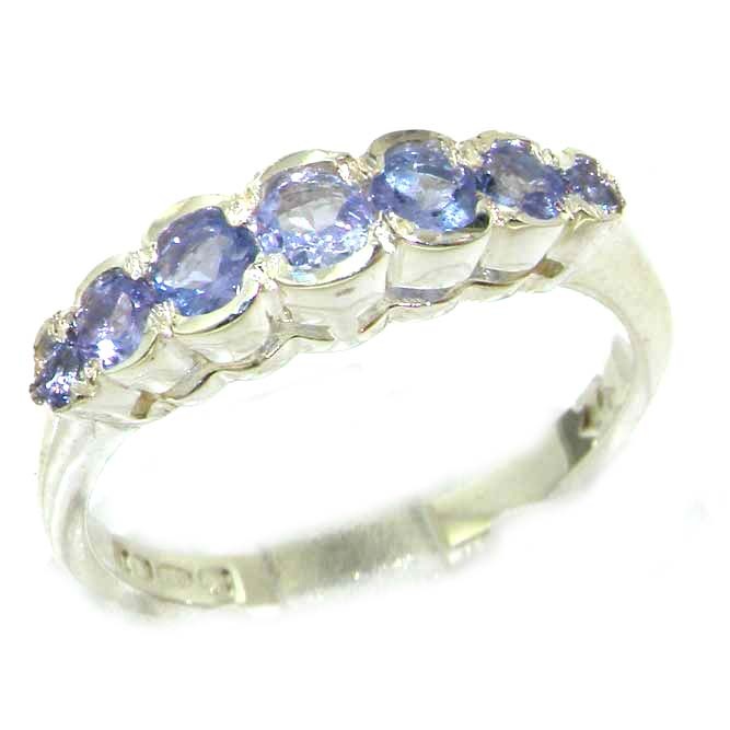 The Great British Jeweler High Quality Solid White 9K Gold Ladies Natural Tanzanite Contemporary Style Eternity Band Ring - Finger Sizes 5 to 12 ...