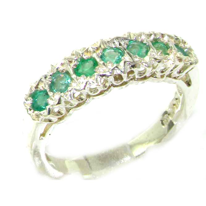The Great British Jeweler Solid English 9K White Gold Ladies Natural Emerald Victorian Style Eternity Band Ring - Finger Sizes 5 to 12 Available ...
