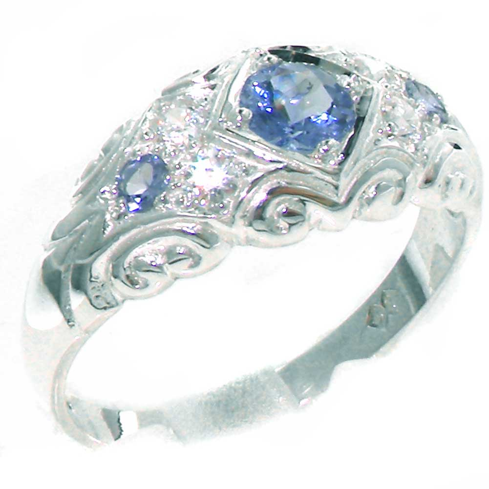 The Great British Jeweler Solid 925 Sterling Silver Womens Tanzanite & Diamond Band Ring - Size 10 - Finger Sizes ...