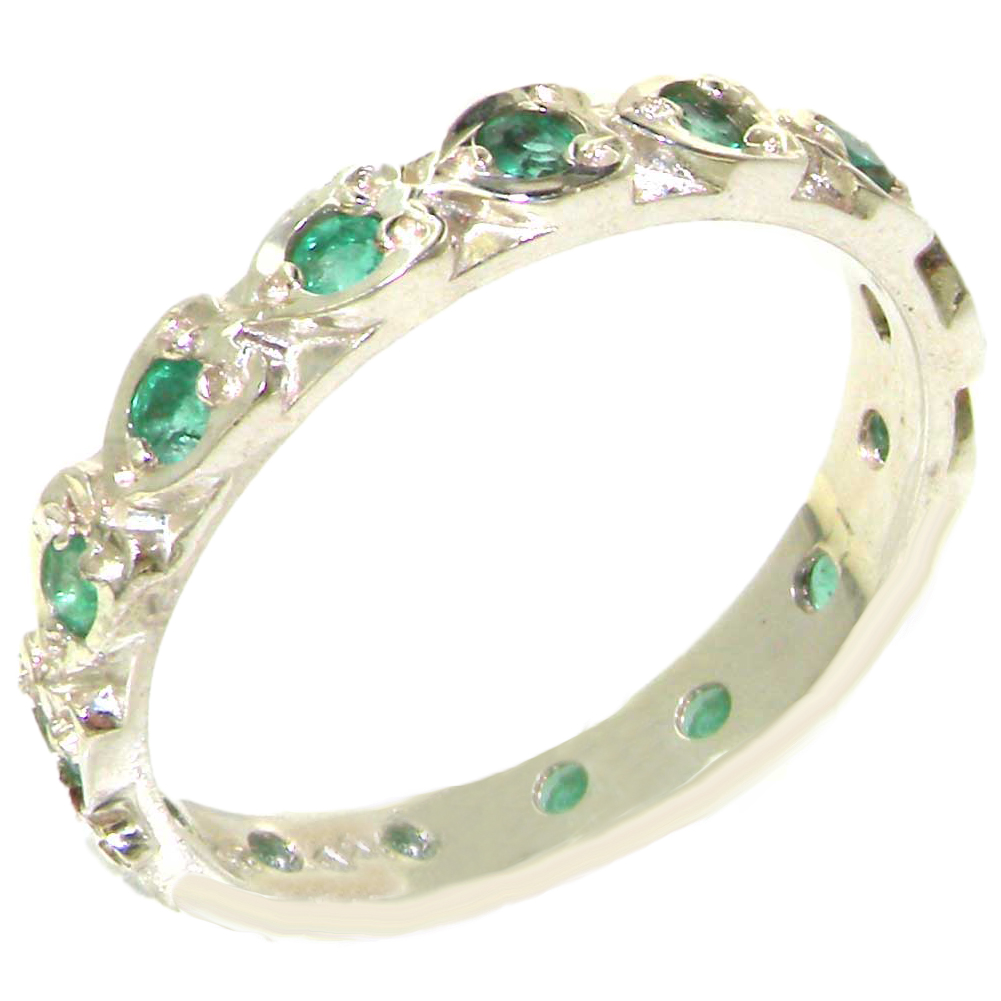 The Great British Jeweler Solid Sterling Silver Natural Emerald Full Eternity Stackable Band Ring with Hearts - Finger Sizes 4 ...