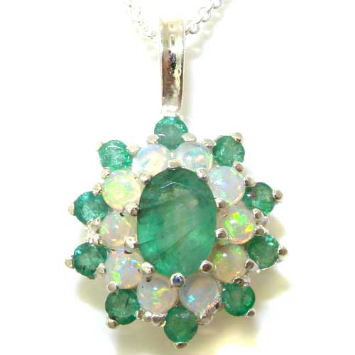 The Great British Jeweler Luxury Ladies Solid White 9K Gold Ornate Large Natural Emerald & Opal Large Cluster Pendant Necklace ...